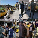 آماده سازی و توزیع بیش از ۳۰۰ بطری مایع ضدعفونی کننده توسط جوانان کرمانی بین راننده های تاکسی
